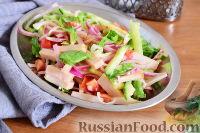 Фото к рецепту: Салат с ветчиной, помидорами и огурцами