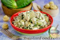 Фото к рецепту: Салат с языком, грибами и огурцами