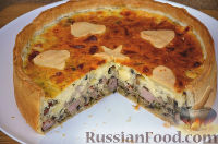 Фото к рецепту: Заливной песочный пирог с грибами, ветчиной и сыром