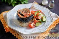Фото к рецепту: Скумбрия, запечённая с беконом