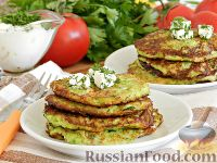 Фото к рецепту: Кабачковые оладьи с брынзой