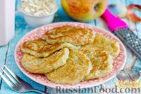Фото к рецепту: Овсяные оладьи с яблоком и имбирем