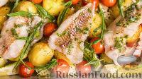 Фото к рецепту: Рыбное филе, запечённое с кабачками и картошкой