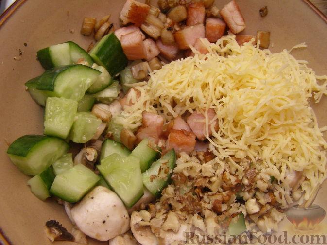 салат из копченого мяса с грибами рецепт с фото