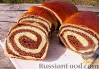 Фото к рецепту: Шоколадно-ванильный рулет