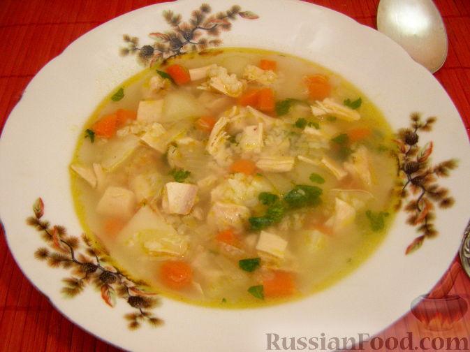 Суп овощной на курином бульоне