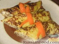 Фото к рецепту: Тыквенные блинчики с творожной начинкой
