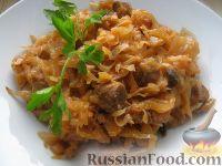 Фото к рецепту: Капуста тушеная с грибами