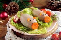 Фото к рецепту: Кальмары, фаршированные рисом с грибами