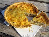 Фото к рецепту: Французский луковый пирог с грудинкой