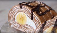 Фото к рецепту: Рулет из шоколадных блинчиков с творогом и бананом
