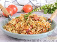 Фото к рецепту: Тушеная капуста с чечевицей и колбасками