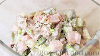 Салат с курицей, ветчиной и гренками - рецепт пошаговый с фото