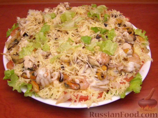 рецепт салата из морского коктейля с яйцами с фото