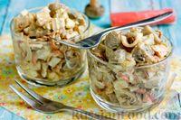 Фото к рецепту: Салат с крабовыми палочками и грибами