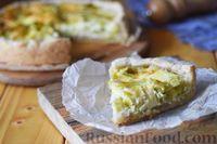 Фото к рецепту: Открытый пирог с луком-пореем и сыром