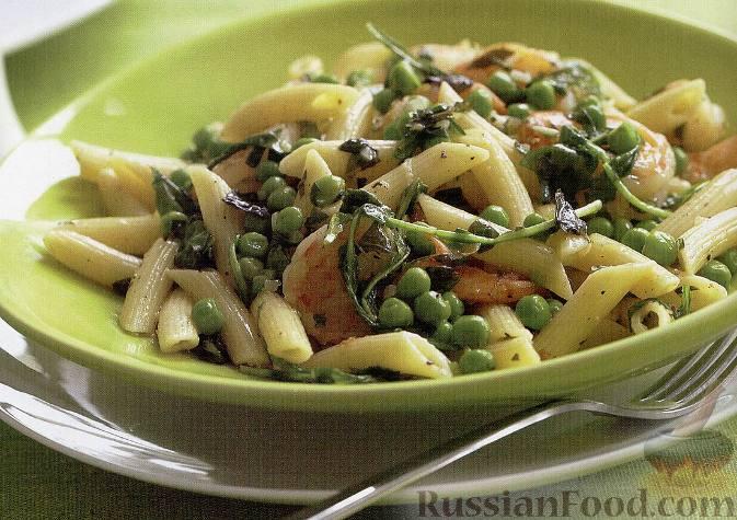 Рецепт Макароны с креветками, зеленым горошком и базиликом