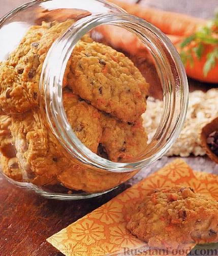 Рецепт Морковно-овсяное печенье с орехами и шоколадом