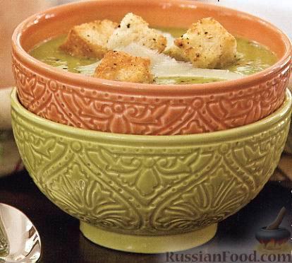Рецепт Гороховый суп-пюре с пармезаном и гренками