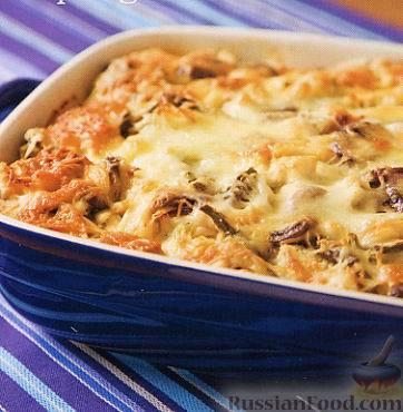 Рецепт Хлебная запеканка с курицей, грибами и спаржей
