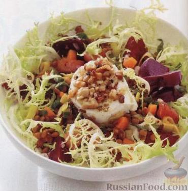 Рецепт Салат с печеной свеклой, чечевицей и козьим сыром