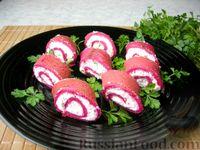 Фото к рецепту: Свекольные блинчики с творожной начинкой