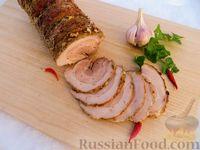 Фото к рецепту: Свиная грудинка, запечённая в духовке