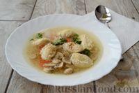 Фото к рецепту: Суп с куриными кнелями, морковью  и шампиньонами