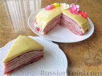 Фото к рецепту: Блинный торт с клубникой и творогом