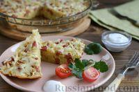 Фото к рецепту: Лапшевник с колбасой и сыром