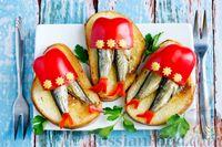 Фото к рецепту: Бутерброды со шпротами на 8 Марта