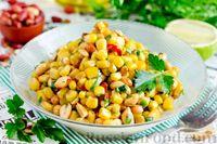 Фото к рецепту: Салат из консервированной кукурузы с арахисом