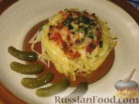 Фото к рецепту: Запеченные гнезда-спагетти с фаршем