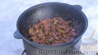 Фото приготовления рецепта: Азу по-татарски, с солёными огурцами - шаг №12