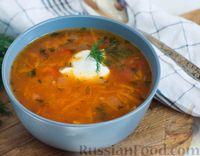 Фото к рецепту: Томатный суп с фасолью и рисом