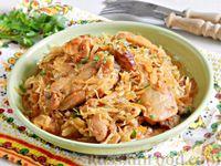 Фото к рецепту: Тушёная капуста с курицей и копчёной грудинкой