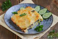 Фото к рецепту: Запечённая картошка со скумбрией и сыром
