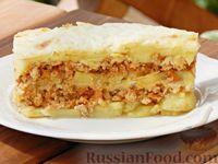 Фото к рецепту: Картофель, запечённый с фаршем и сыром
