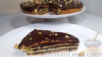 Фото приготовления рецепта: Пирог из песочного теста с джемом, орехами и шоколадной глазурью - шаг №18