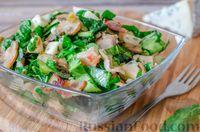 Фото к рецепту: Салат с грибами, шпинатом, беконом и сыром дорблю
