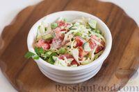 Фото к рецепту: Салат из молодой капусты со свежим горошком, помидорами и огурцами