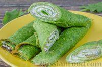 Фото к рецепту: Блинчики из шпината с творожной начинкой
