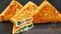 Фото к рецепту: Конвертики из лаваша с начинкой из курицы, помидора, сыра и зелени