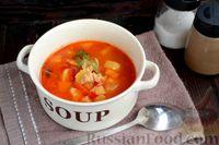 Фото к рецепту: Томатный суп из индейки с картофелем и болгарским перцем