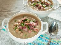 Фото к рецепту: Суп-пюре из цветной капусты и фасоли, с грудинкой