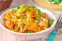 Фото к рецепту: Капуста, тушенная с рисом, в томатном соусе