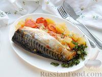 Фото к рецепту: Скумбрия с луком и морковью, в духовке