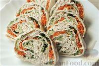Фото к рецепту: Рулет из лаваша с курицей, морковью по-корейски и огурцами