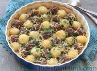 Фото к рецепту: Молодой картофель, запеченный с тефтелями
