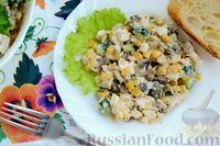 Фото к рецепту: Салат с курицей, кукурузой, шампиньонами и огурцами